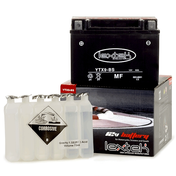 Lextek Motorcycle Battery YTX9-BS 152x88x106mm