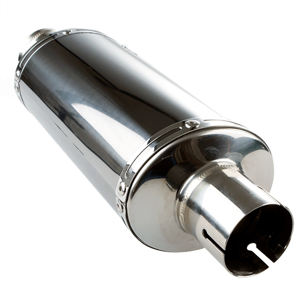 Lextek OP16 Black Chrome Exhaust Silencer 250mm 51mm