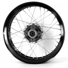 Black Rear Wheel 17x3.00 (Disc Brake), Stud Fixing, Grey Hub