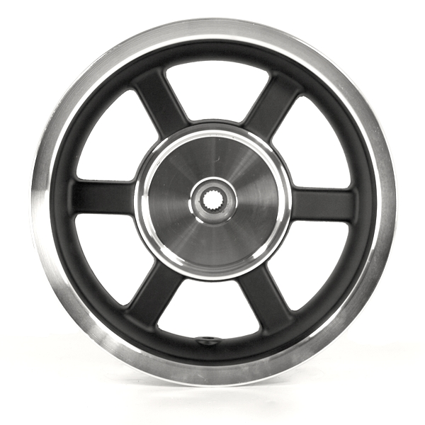 6 Spoke Rear Wheel 12x3.50 Satin Black/Chrome (Drum Brake)