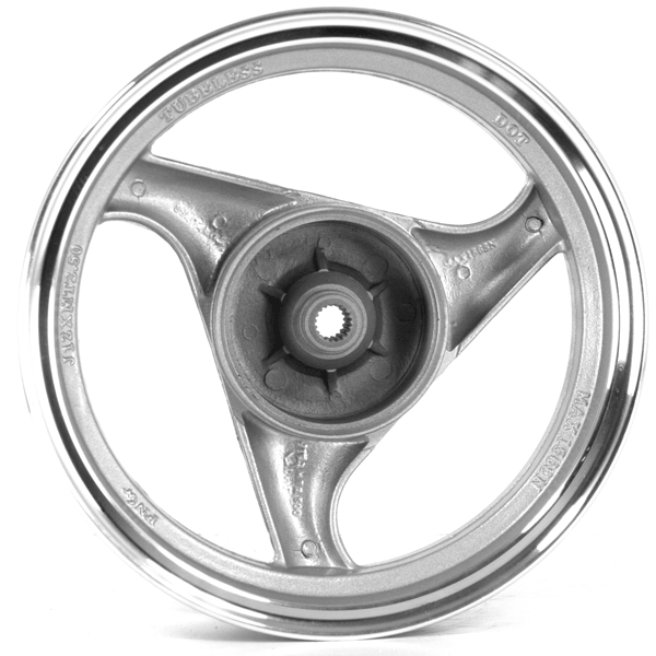 3 Spoke Rear Wheel 12x2.50 Silver (Drum Brake)