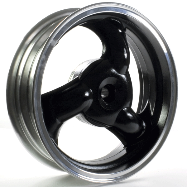 3 Spoke Rear Wheel 12x3.50 Black/Chrome (Drum Brake)
