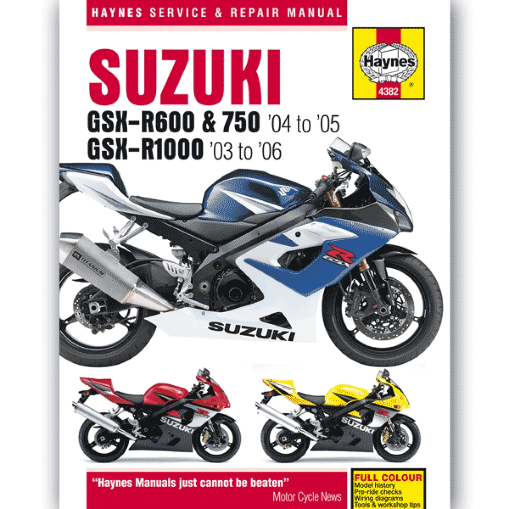 Haynes Manual 4382 for Suzuki GSX-R600/750 (04-05)/GSX-R1000 (03-08) -  H4382   CMPO   Chinese Motorcycle Parts Online