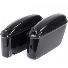 Pair of Hard Motorcycle Gloss Black Panniers for ZS125-79