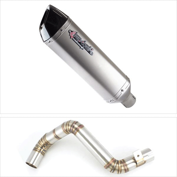 Lextek VP1 Matt S/Steel Hexagonal Exhaust with Link Pipe for KTM Duke 125/200 (11-16)