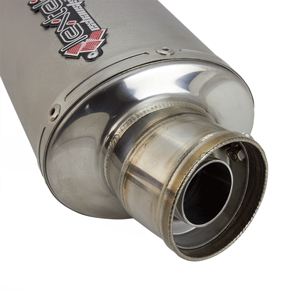 2 x Lextek Oval S/Steel Exhaust Silencer 51mm Slip-on