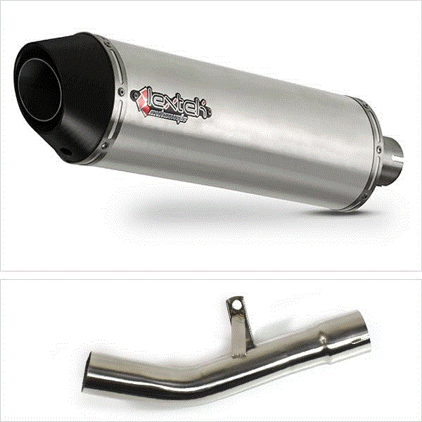 Lextek RP1 Gloss S/Steel Round Exhaust with Link Pipe for Suzuki GSF650/1250 (07-16) GSX650F (07-16) GSX1250