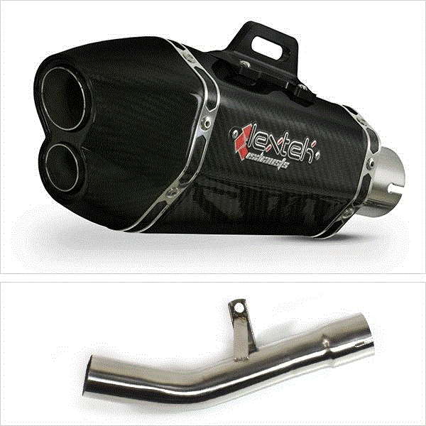 Lextek XP13C Carbon Fibre Exhaust with Link Pipe for Suzuki GSF650/1250 (07-16) GSX650F (07-16) GSX1250