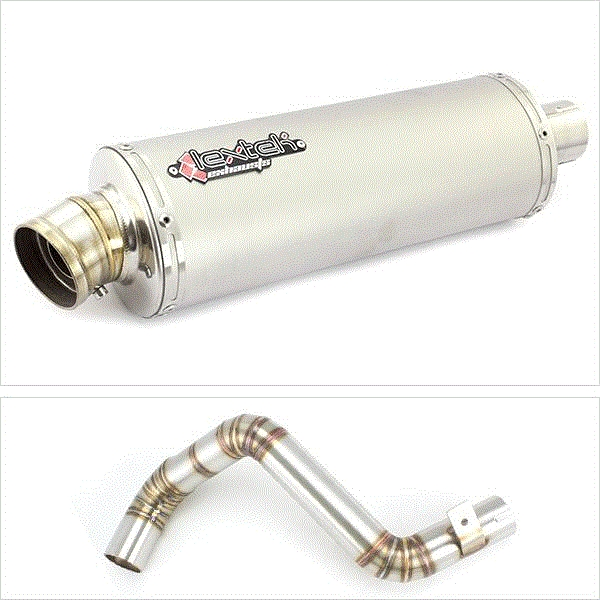 Lextek OP1 Matt S/Steel Oval Exhaust with Link Pipe for KTM 125/200 Duke (11-16)