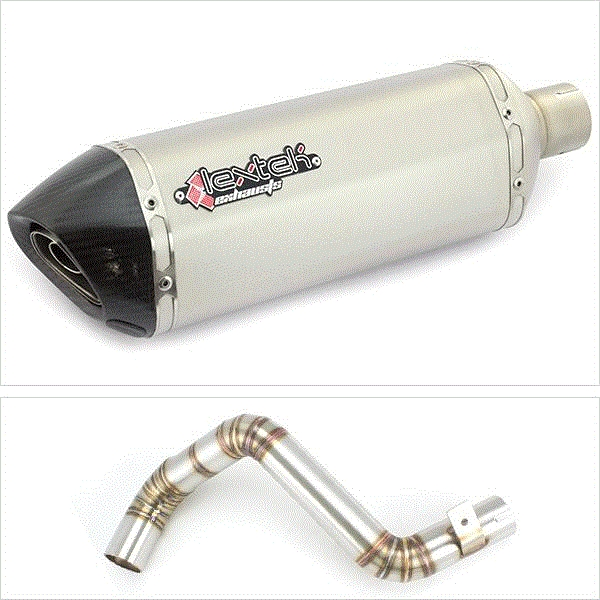Lextek SP1 Matt S/Steel Hexagonal Exhaust with Link Pipe for KTM Duke 125/200 (11-16)
