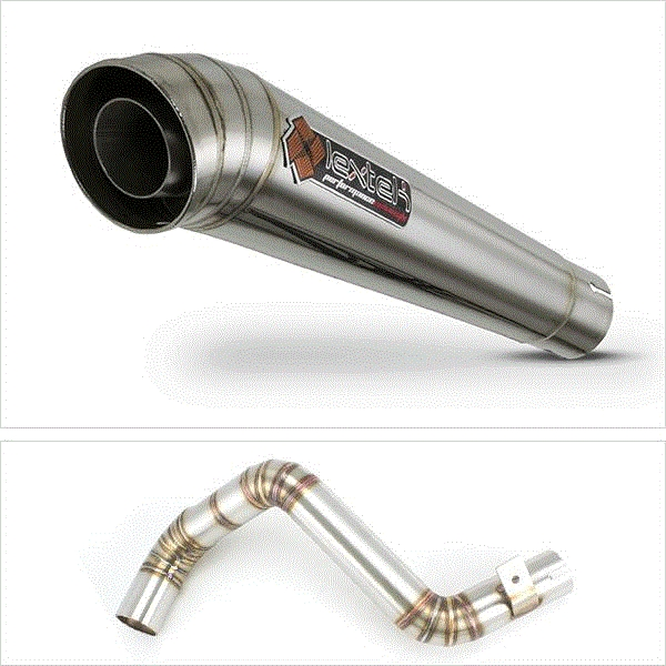 Lextek MP4 S/Steel Megaphone Exhaust with Link Pipe for KTM Duke 125/200 (11-16)