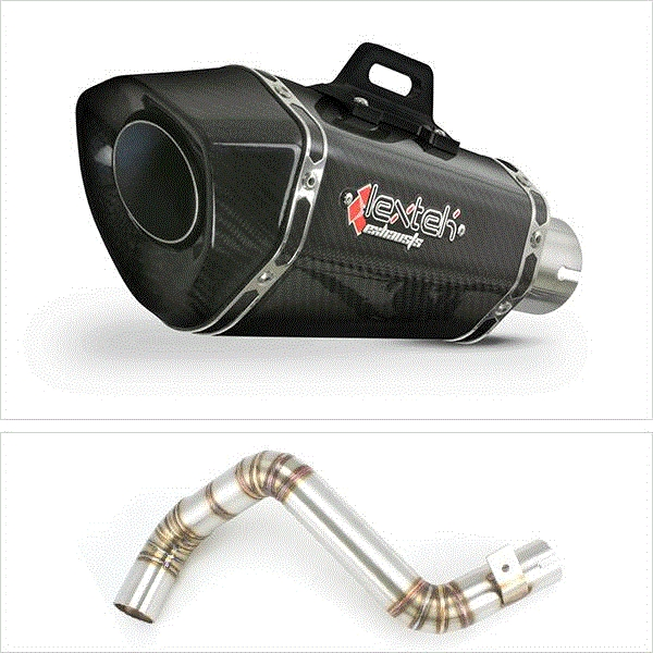 Lextek XP8C Carbon Fibre Hexagonal Exhaust with Link Pipe for KTM Duke 125/200 (11-16)