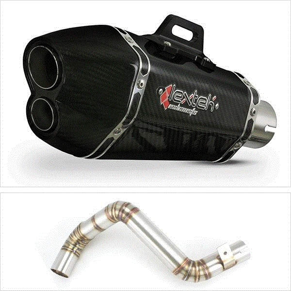 Lextek XP13C Carbon Fibre Exhaust with Link Pipe for KTM Duke 125/200 (11-16)