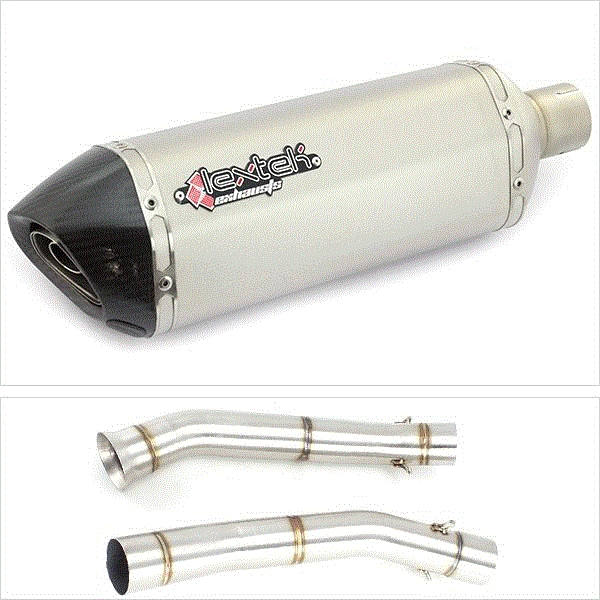 Lextek SP1 Matt S/Steel Hexagonal Exhaust with De-Cat Link Pipe for KTM 690 Duke (12-15)