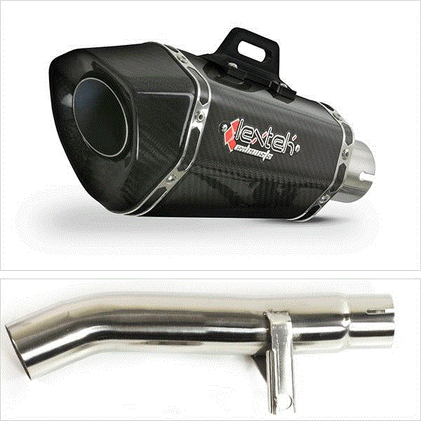 Lextek XP8C Carbon Fibre Exhaust Kit with Link Pipe for Honda CBF600 F N (04-07)
