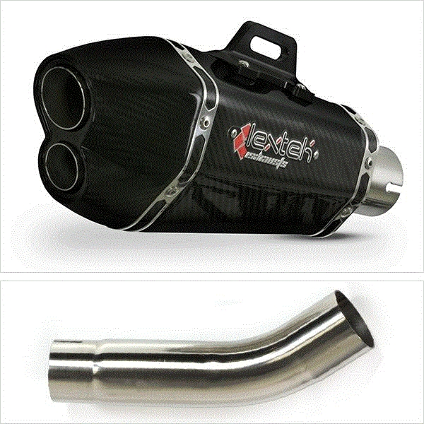 Lextek XP13C Carbon Fibre Exhaust with Link Pipe for Suzuki GSXR600/750 (11-17)