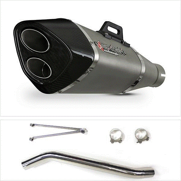 Lextek VP6 Matt S/Steel Exhaust with High Level Link Pipe for Suzuki GSXR600/750 (06-07)