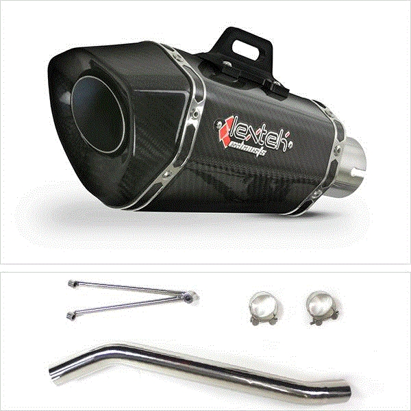 Lextek XP8C Carbon Fibre Exhaust with High Level Link Pipe for Suzuki GSXR600/750 (06-07)