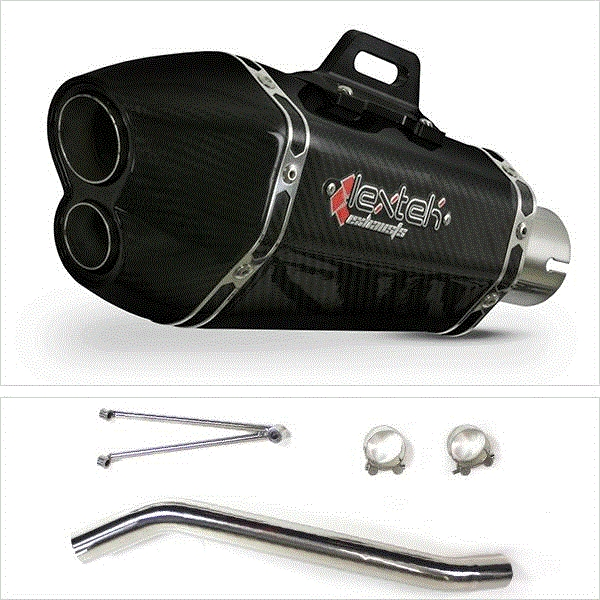 Lextek XP13C Carbon Fibre Exhaust with High Level Link Pipe for Suzuki GSXR600/750 (06-07)