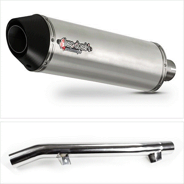 Lextek RP1 Gloss S/Steel Exhaust with Link Pipe for Suzuki GSF650 Oil Cooled (05-06)