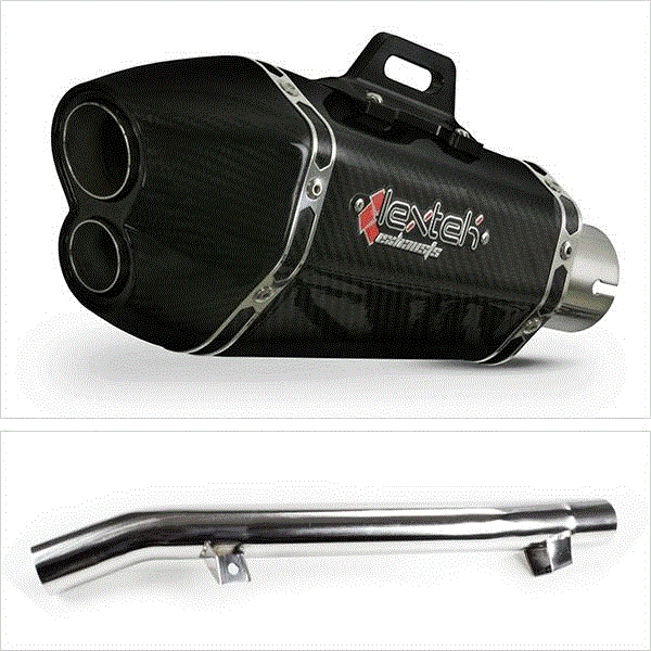 Lextek XP13C Carbon Fibre Exhaust with Link Pipe for Suzuki GSF650 Oil Cooled (05-06)