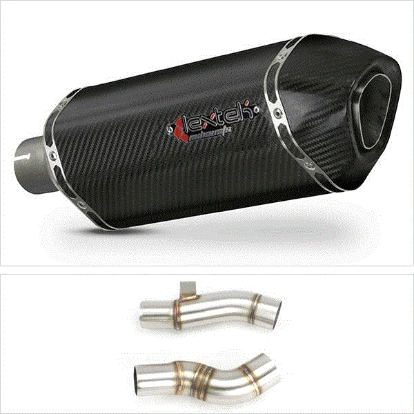 Lextek SP8C Carbon Fibre Exhaust with Link Pipe for Kawasaki Z1000 (10-13)