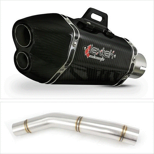 Lextek XP13C Carbon Fibre Exhaust with Link Pipe for Kawasaki Z750 (07-12)