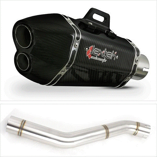 Lextek XP13C Carbon Fibre Exhaust with Link Pipe for Honda CBR600 F (87-90)