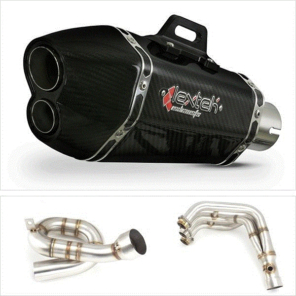 Lextek XP13C Carbon Fibre Low Level Exhaust System for Yamaha MT-09 (13-18)