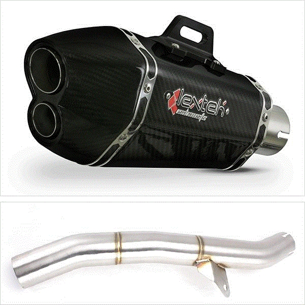 Lextek XP13C Carbon Fibre Exhaust with Link Pipe for Honda CBR600 F/FR/FS (01-02)