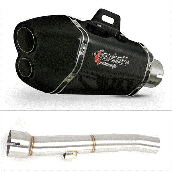 Lextek XP13C Carbon Fibre Exhaust with Link Pipe for Yamaha FZS 1000 (00-05)