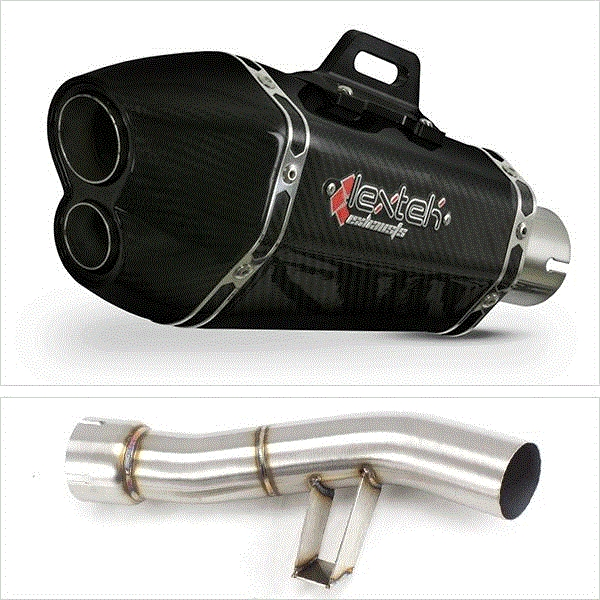 Lextek XP13C Carbon Fibre Exhaust with Link Pipe for Yamaha FZ1 (06-15)