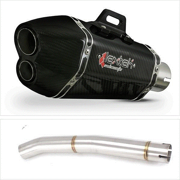 Lextek XP13C Carbon Fibre Exhaust with Link Pipe for Yamaha R6 (06-16)