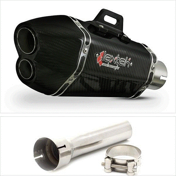 Lextek XP13C Carbon Fibre Hexagonal Exhaust Silencer 51mm for BMW R 1200 GS (13-18)