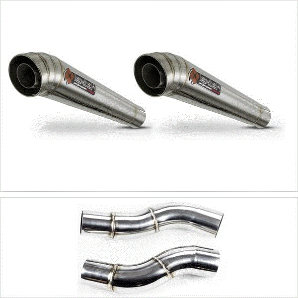 Lextek MP4 S/Steel Megaphone Exhaust Silencer 51mm with Link Pipes for Kawasaki Z1000 (14-19)