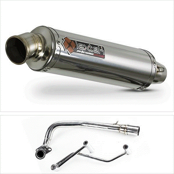 Lextek Scooter RR4 S/Steel Round Exhaust System for GY6 50cc (99-15)