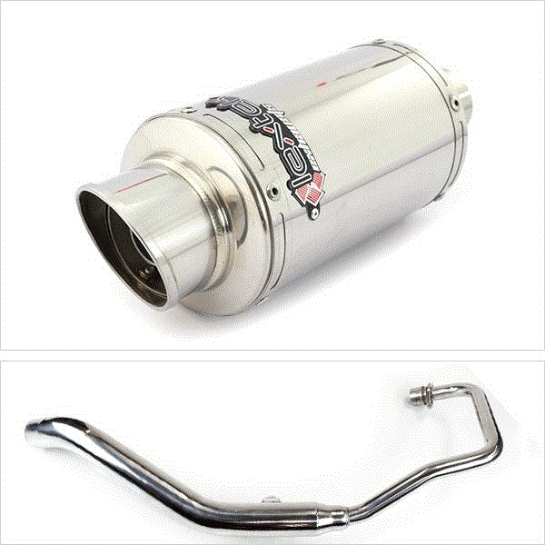 Lextek YP4 S/Steel Stubby Exhaust System for Lexmoto XTR S 125 (10-16)