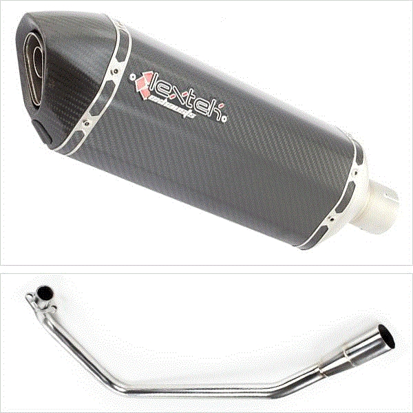 Lextek SP8C Carbon Fibre Hexagonal Exhaust System for Lexmoto ZSX125 (13-16)