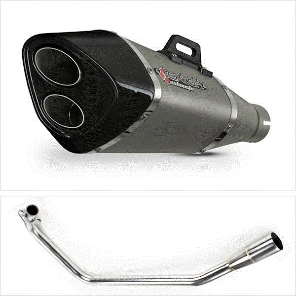 Lextek VP6 Matt S/Steel Tri Oval Exhaust System for Lexmoto ZSX125 (13-16)