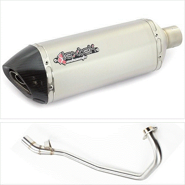 Lextek SP1 Matt S/Steel Hexagonal Exhaust System for Yamaha YBR (05-16)