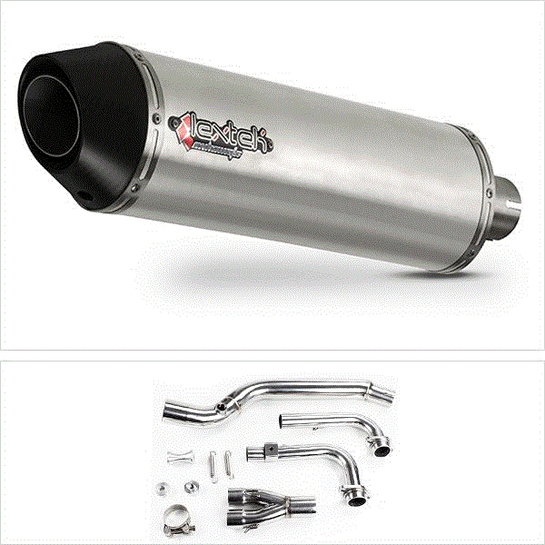 Lextek RP1 Gloss S/Steel Oval Exhaust System for Yamaha T-Max 500 (02-13)