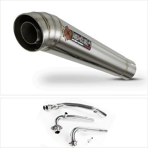 Lextek MP4 S/Steel Megaphone Exhaust System for Yamaha T-Max 530 (14-16)