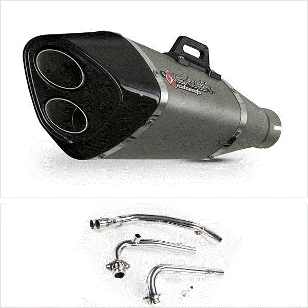 Lextek VP6 Matt S/Steel Tri Oval Exhaust System for Yamaha T-Max 530 (14-16)