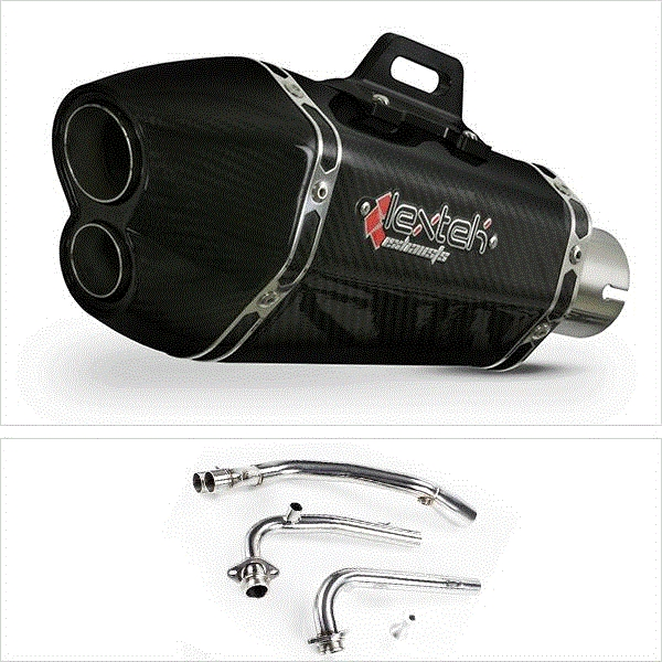 Lextek XP13C Carbon Fibre Hexagonal Exhaust System for Yamaha T-Max 530 (14-16)