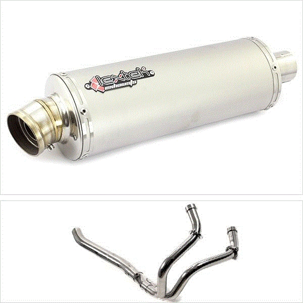 Lextek OP1 Matt S/Steel Exhaust System (Pillion Fitment) for Yamaha MT-07 (14-19)