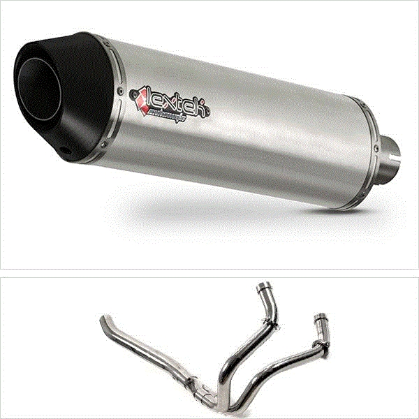 Lextek RP1 Gloss S/Steel Oval Exhaust System (Pillion Fitment) for Yamaha MT-07 (14-19)
