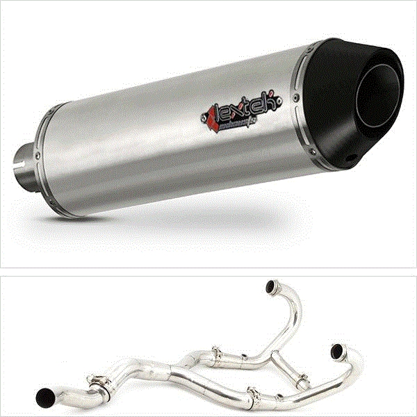 Lextek RP1 Matt S/Steel Oval Exhaust System for BMW R 1200 GS (03-10) R 1200 GS Adventure (05-10)