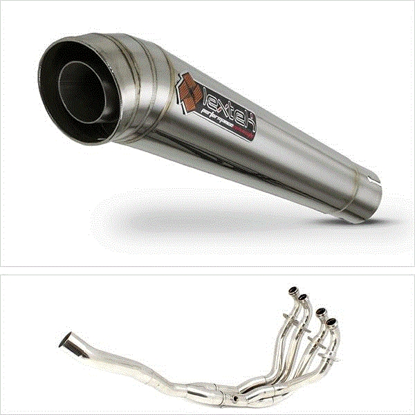 Lextek MP4 S/Steel Megaphone Exhaust System for Kawasaki ZX-6R (09-20)