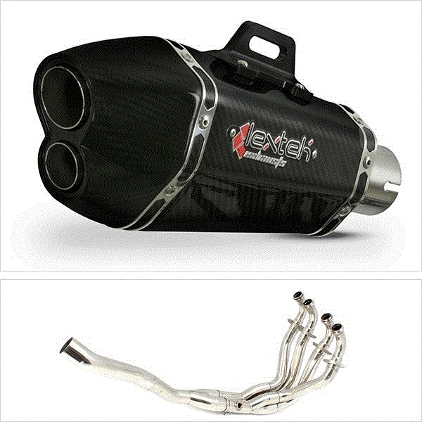 Lextek XP13C Carbon Fibre Hexagonal Exhaust System for Kawasaki ZX-6R (09-19)