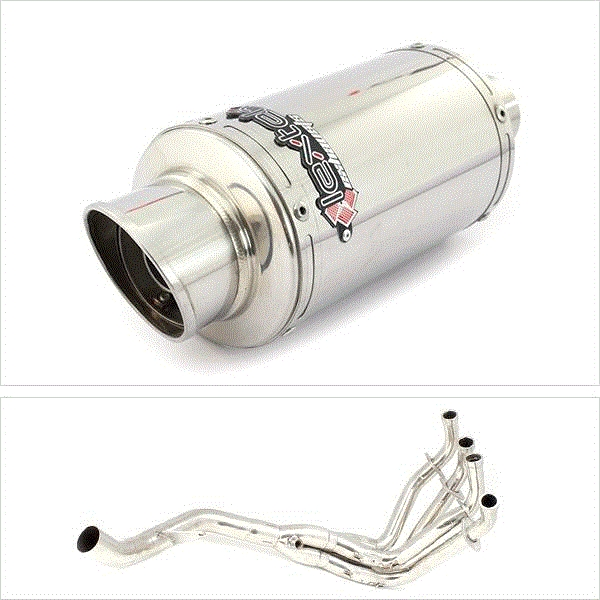 Lextek YP4 S/Steel Stubby Exhaust System (Single) for Kawasaki Z1000 (10-19)